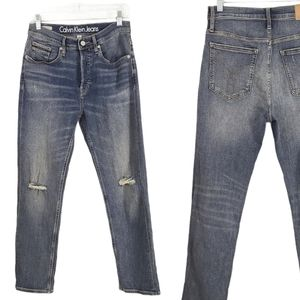 Calvin Klein 8 High Rise Straight Distressed Jeans